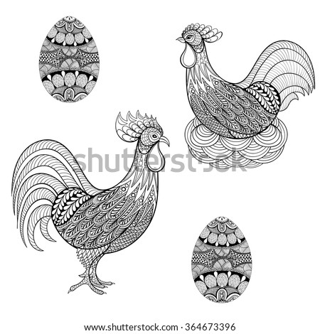 hand drawing chicken in nest