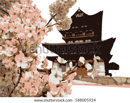 hand drawing chinese house and