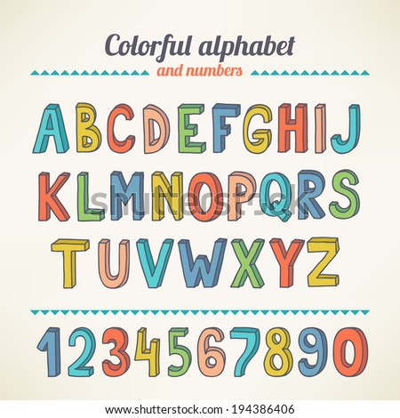Hand drawing colorful latin alphabet