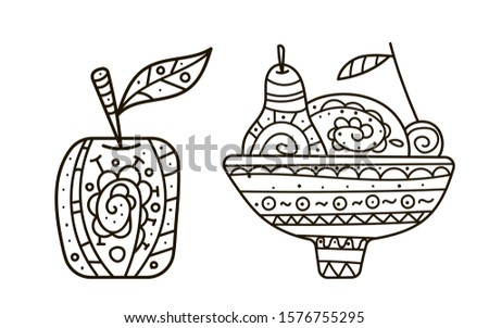stock vector hand drawing coloring pages for children and adults a beautiful pattern with small details for