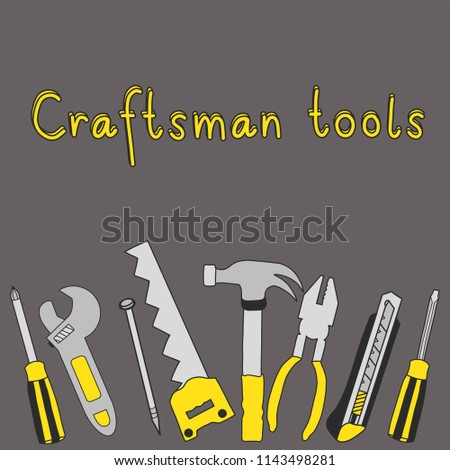 hand drawing craftsman tools with gray background, hammer ,hacksaw,nail, screwdriver ,pliers