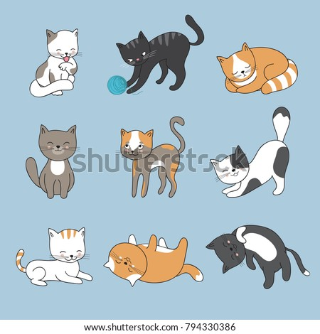 hand drawing cute cats vector