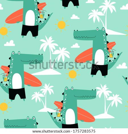 Hand drawing cute crocodile seamless pattern vector illustration for t-shirt design with slogan. Vector illustration design for fashion fabrics, textile graphics, prints.