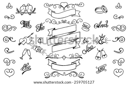 Hand drawing decor elements set.For invitations,weddings,holidays,design templates.