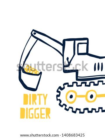 hand drawing digger