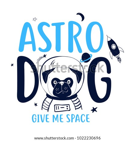 hand drawing dog and space