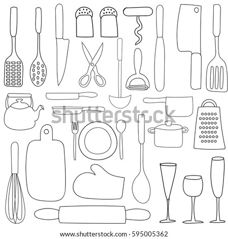 Kitchenware On White Background Hand Drawn Vector Illustration