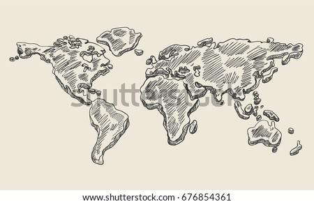 Sketch world map vectors download free vector art stock graphics hand drawing doodle world map vintage earth vector sketch gumiabroncs Gallery