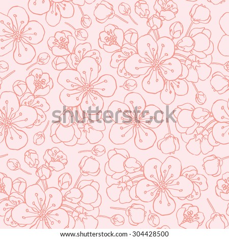 hand drawing flowering cherry