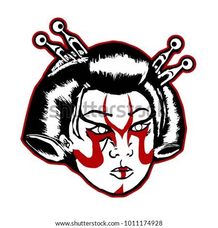 hand drawing geisha head