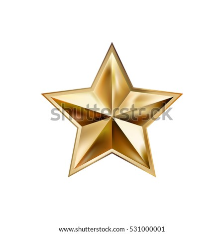 hand drawing gold star with five rays elegant element isolated on white background, vector illustration eps10