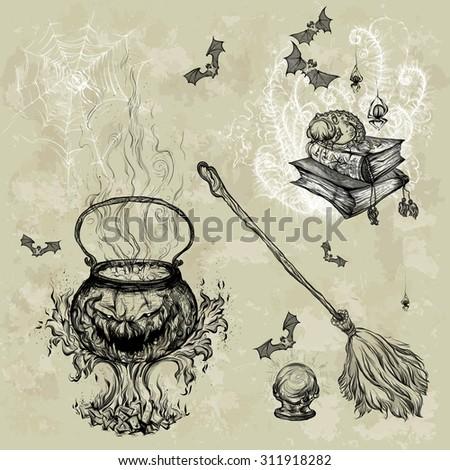 stock-vector-hand-drawing-grunge-background-vector-illustration-pattern-halloween-pumpkin-magical-cauldron