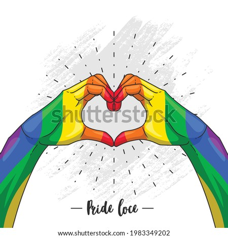 hand drawing heart shaped hand for the Pride month