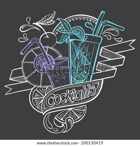Hand-drawing Illustration Cocktails stylized in Chalk-draft
