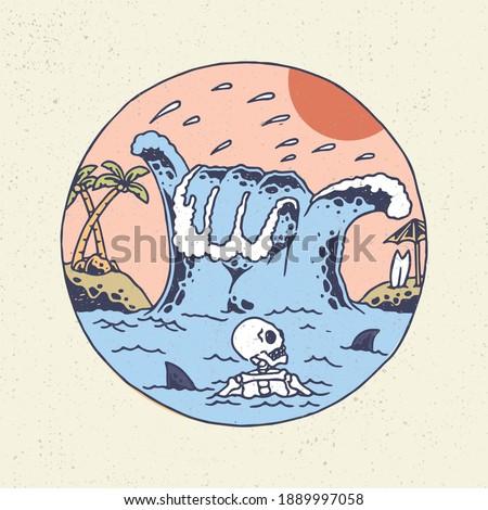 Hand drawing illustration skeleton skull, the concept from skeleton with shaka wave in the summer. Design for tshirt design or merchandise