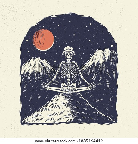 Hand drawing illustration skeleton skull, the concept from skeleton yoga with background mountain the night. Design for tshirt design or merchandise