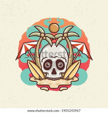 Hand drawing illustration with line art style and high detailed. Skull combination with peace, summer, viking, camera, wings, pencil, wine, coffee, and lights.