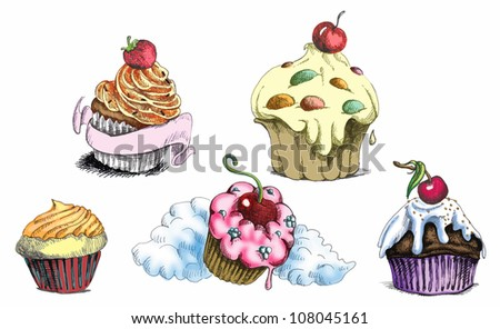 stock-vector-hand-drawing-illustrations-converted-into-vector-cupcakes