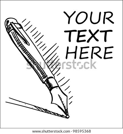 Hand drawing ink pen and sample text. Sketch vector icon