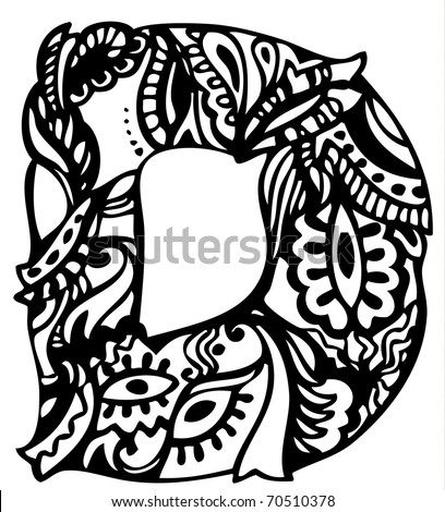 Hand Drawing Letter D Stock Vector 70510378 : Shutterstock