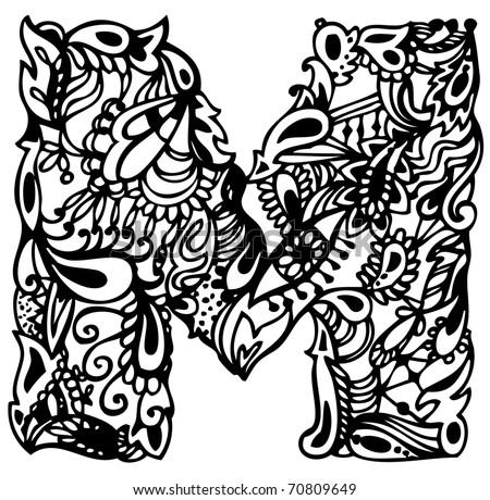 Oslikaj slova  azbuke - Page 11 Stock-vector-hand-drawing-letter-m-70809649