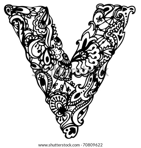 Hand Drawing Letter V Stock Vector Illustration 70809622 ...