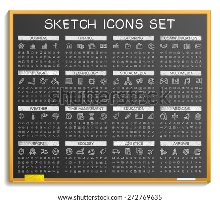 Hand drawing line icons. Vector doodle pictogram set: chalk sketch sign illustration on blackboard. Web, app, mobile, business, finance, technology, time, medical, education, arrow, sport, transport