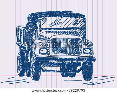 Hand drawing lorry. Visit my portfolio for huge hand drawn collection