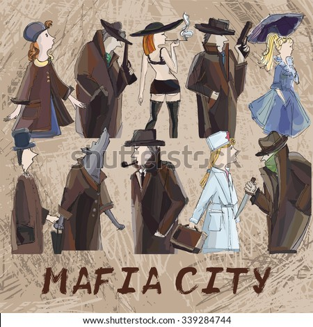 hand drawing mafia city