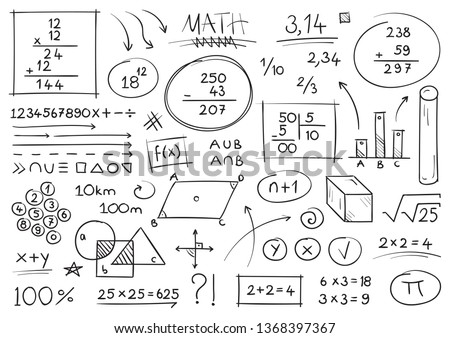 hand drawing mathematical expressions. mathematical symbols. the world of mathematics