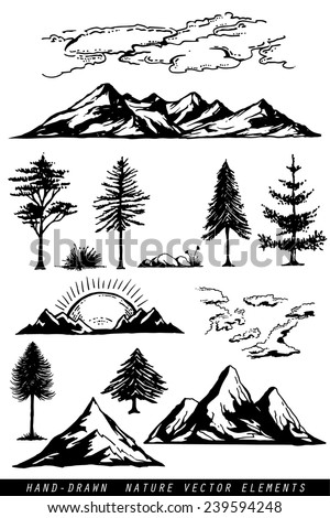 Hand drawing mountains pines clouds and plants vector illustration
