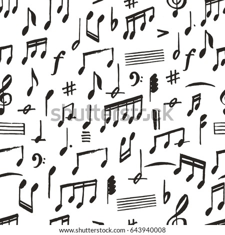 Hand Drawing Music Notes In Grunge Brush Graphic Style Seamless