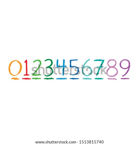hand drawing numbers. vector numbers. scribble numbers on white background