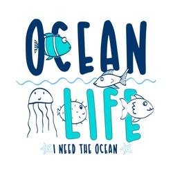 Hand drawing ocean animals illustration vector.
