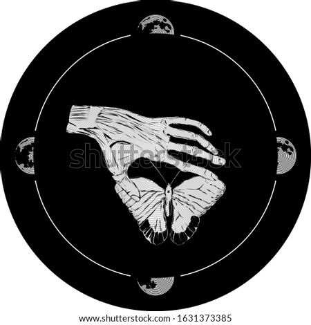 Hand drawing of a human palm touches a butterfly. An occult pattern in the form of a rune depicting the phase of the moon. Stylistics engraving.