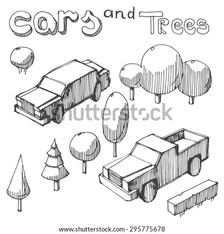 hand drawing of cars and trees