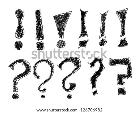 Hand drawing of different variations of exclamation mark and question mark doodles - stock vector
