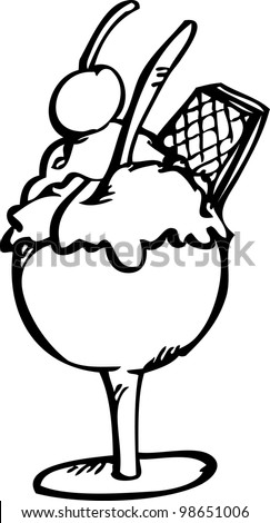 hand drawing of  ice cream in the glass
