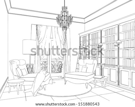 hand drawing of interior library
