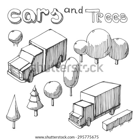 hand drawing of trucks and