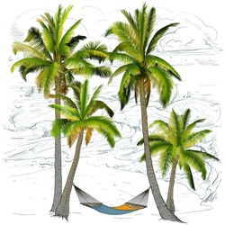 Hand drawing.Palm trees, branches of palm trees made gradient. Against the background of the sea with waves and sailboats.