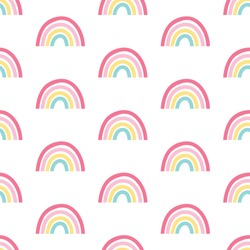 Hand drawing  rainbow pattern illustration vector.