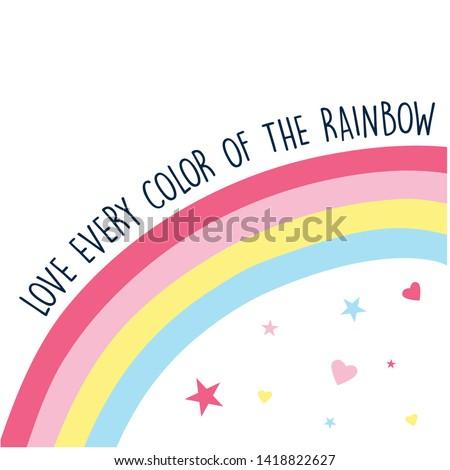 Hand drawing rainbow vector illustration.  Print design for summer.
