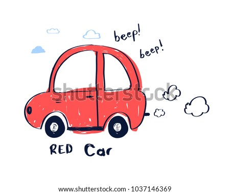 hand drawing red car