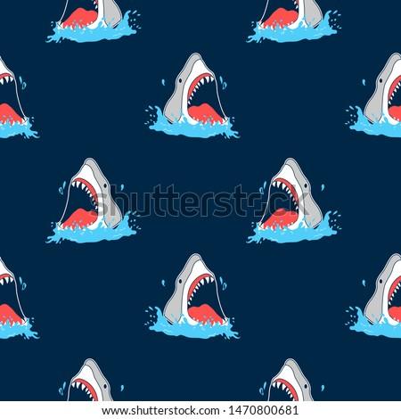 hand drawing shark pattern