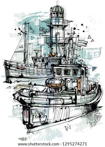 hand drawing ships with a