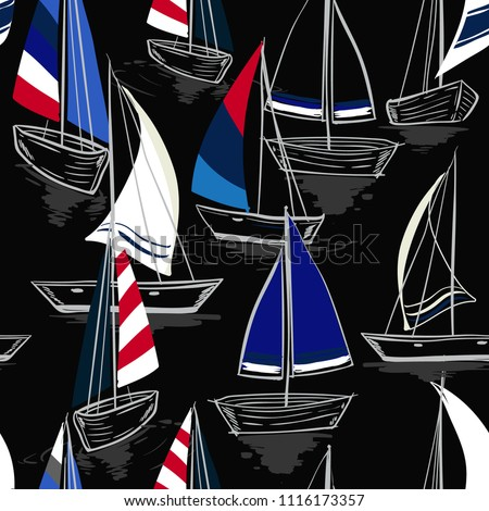 Hand drawing  sketch Seamless summer sea pattern with sailing ships on balck background. Nautical pattern vector