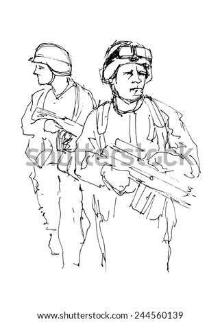 hand drawing soldiers vector