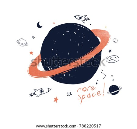 Stock Photo hand drawing space illustration vector.