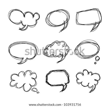 Hand drawing speech bubbles cartoon doodle - Vector - stock vector